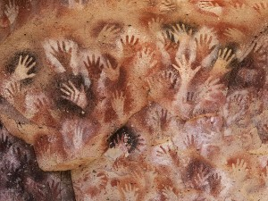 Handprints from Cueva de las Manos (Cave of Hands), Spain. Courtesy of fineartamerica.com